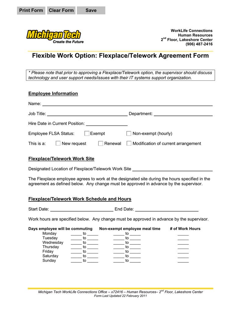 Flexible work option flexplacetelework agreement form maxwellsz