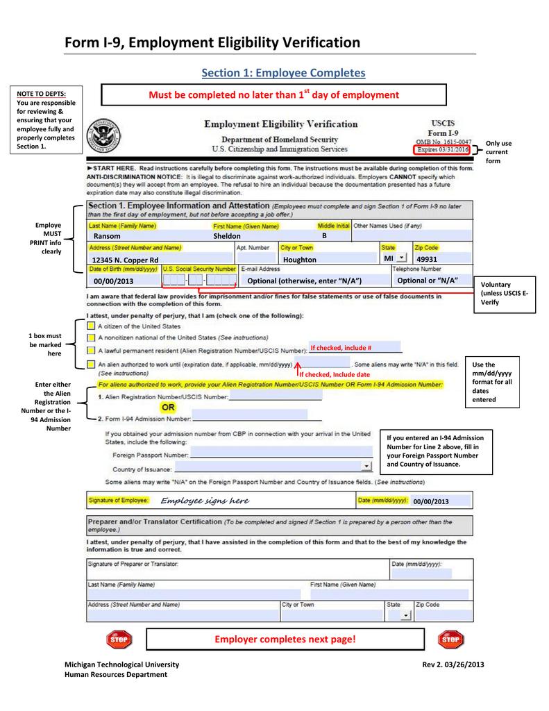 i 94 form employment eligibility  Form I-1111, Employment Eligibility Verification Section 11 ...