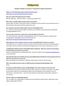Student Health Insurance Frequently Asked Questions