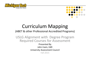 Curriculum Mapping USLG Alignment with  Degree Program Required Courses for Assessment