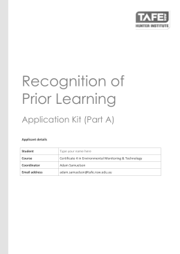 Recognition of Prior Learning Application Kit (Part A)