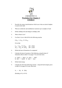 CHEMISTRY II Worksheet for Chapter 4 ENERGY