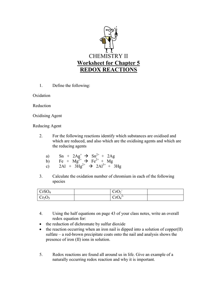 CHEMISTRY II Worksheet for Chapter 5 REDOX REACTIONS