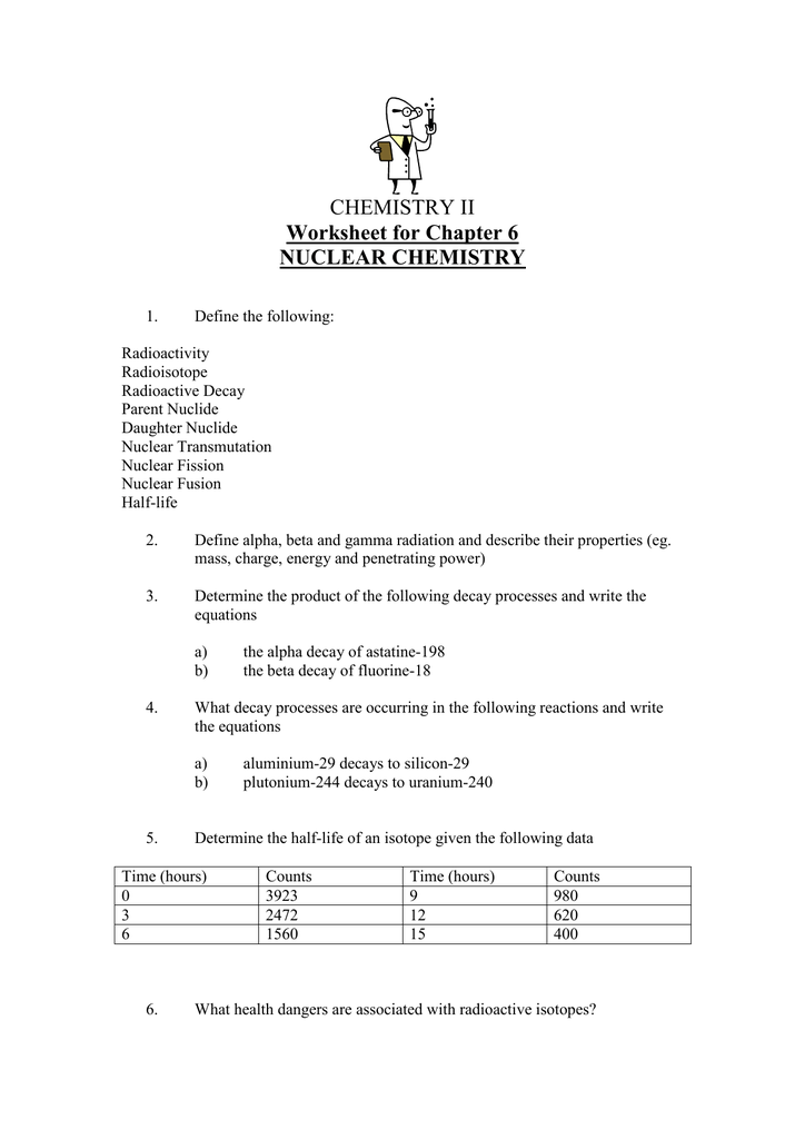CHEMISTRY II Worksheet for Chapter 6 NUCLEAR CHEMISTRY