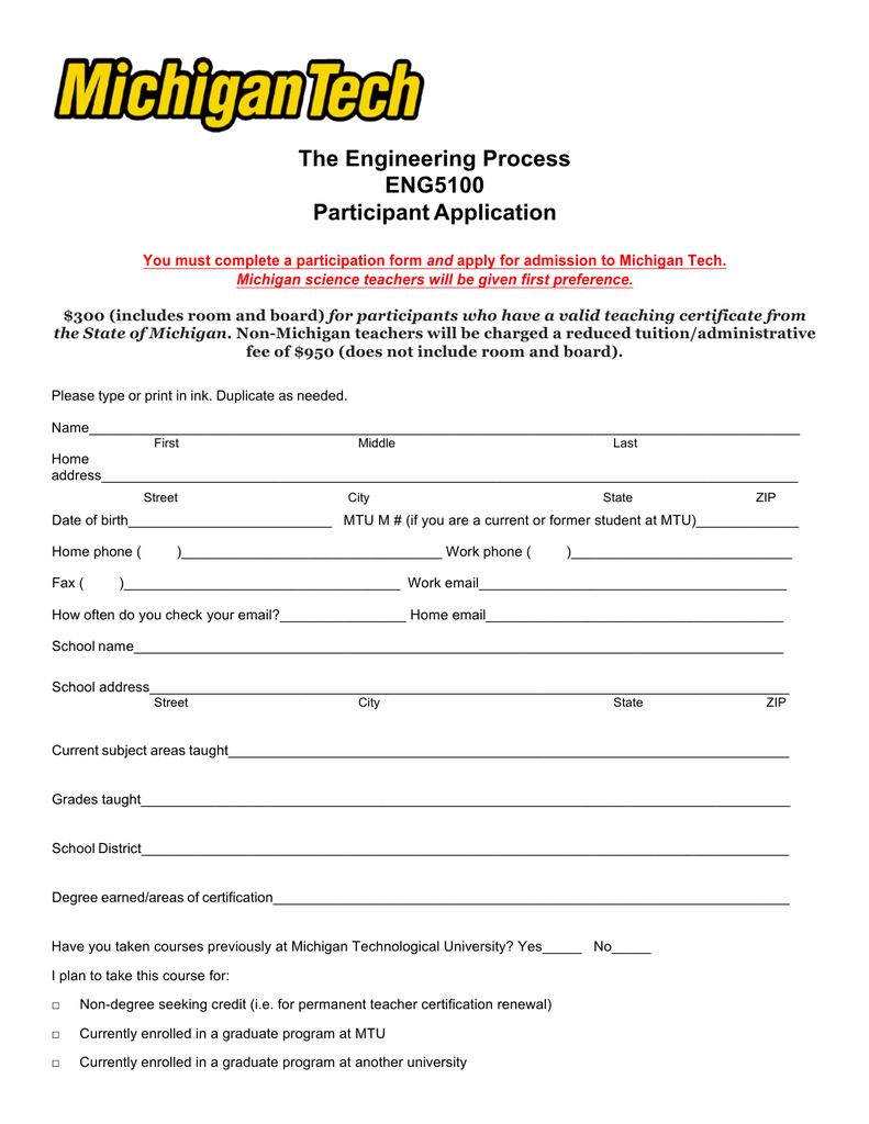 The Engineering Process Eng5100 Participant Application