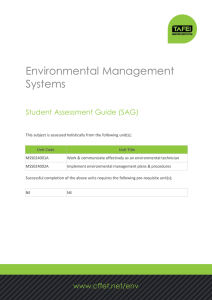 Environmental Management Systems Student Assessment Guide (SAG)
