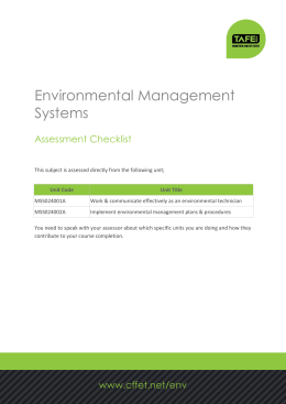 Environmental Management Systems Assessment Checklist