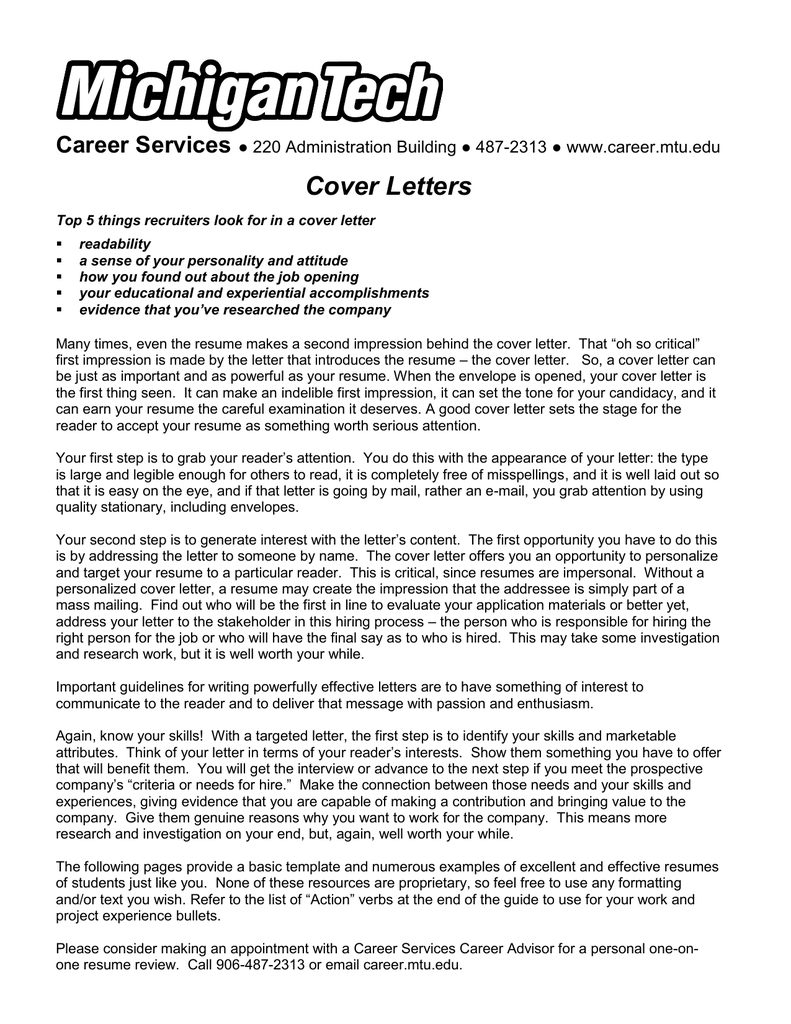 Cover Letter For Customer Service Officer Bank, Cover Letters  E2 97 8b 220 Administration Building  E2 97 8b 487 2313  E2 97 8b Www Career Mtu Edu, Cover Letter For Customer Service Officer Bank