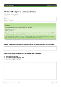 – Report on a water quality issue Worksheet 1