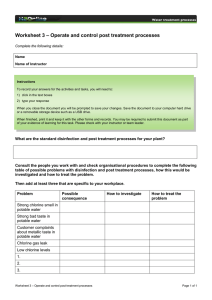 – Operate and control post treatment processes Worksheet 3