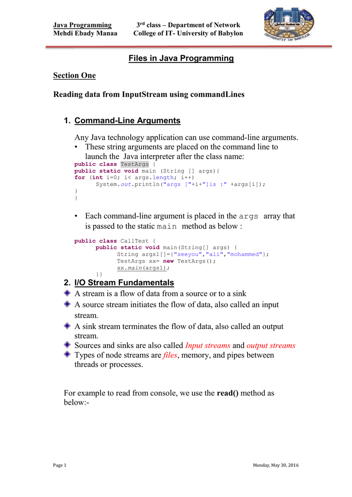Java Programming class – Department of Network