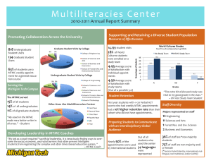 Multiliteracies Center 2010-2011 Annual Report Summary Promoting Collaboration Across the University