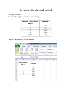 To create a calibration graph on Excel