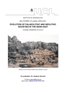 EVOLUTION OF PALAEOLITHIC AND NEOLITHIC SOCIETIES IN THE NEAR EAST