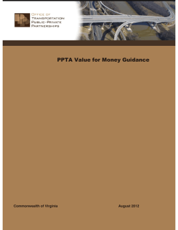 PPTA Value for Money Guidance Commonwealth of Virginia August 2012