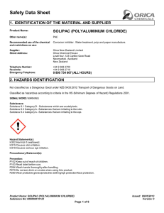 Safety Data Sheet 1. IDENTIFICATION OF THE MATERIAL AND SUPPLIER