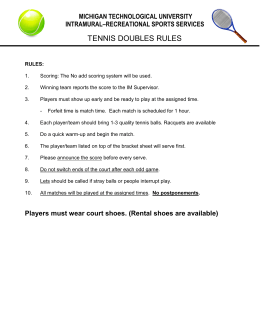 TENNIS DOUBLES RULES MICHIGAN TECHNOLOGICAL UNIVERSITY INTRAMURAL–RECREATIONAL SPORTS SERVICES