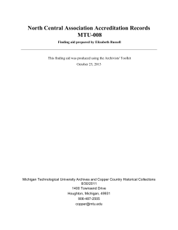 North Central Association Accreditation Records MTU-008