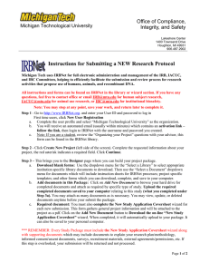 Instructions for Submitting a NEW Research Protocol Office of Compliance,
