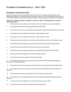President's Evaluation Survey – 2014 / 2015 Evaluation of Executive Team