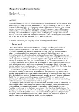 Design learning from case studies Abstract