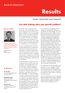 Results Can deal making solve your growth problem? On our minds