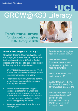 GROW@KS3 Literacy Transformative learning for students struggling with literacy in KS3