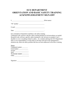 ECE DEPARTMENT ORIENTATION AND BASIC SAFETY TRAINING ACKNOWLEDGEMENT SIGN-OFF