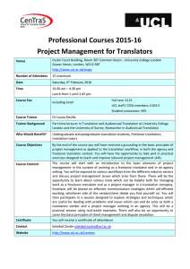 Professional Courses 2015-16 Project Management for Translators