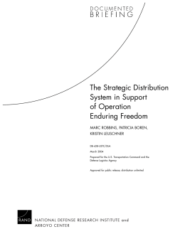The Strategic Distribution System in Support of Operation Enduring Freedom
