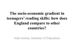 The socio-economic gradient in teenagers' reading skills: how does countries?