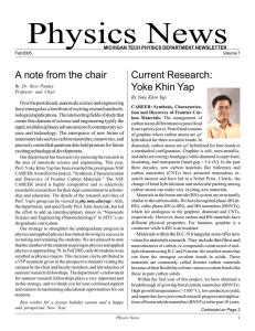 Physics News A note from the chair Current Research: Yoke Khin Yap