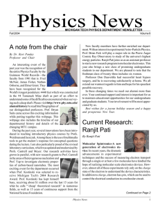 Physics News A note from the chair