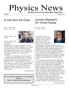 Physics News Current Research: A note from the Chair Dr. Christ Ftaclas