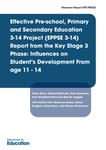 Effective Pre-school, Primary and Secondary Education 3-14 Project (EPPSE 3-14)