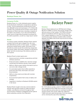 Power Quality & Outage Notification Solution Buckeye Power, Inc. Company Profile