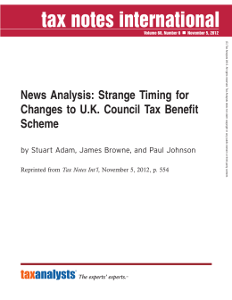 News Analysis: Strange Timing for Changes to U.K. Council Tax Benefit Scheme