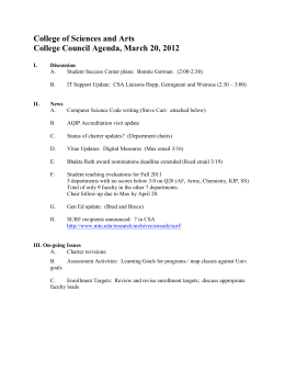 College of Sciences and Arts College Council Agenda, March 20, 2012