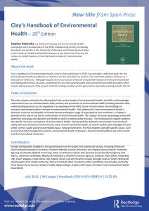 New title Clay's Handbook of Environmental Health