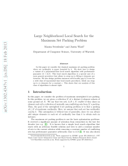 Large Neighborhood Local Search for the Maximum Set Packing Problem Maxim Sviridenko