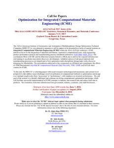Optimization for Integrated Computational Materials Engineering (ICME) Call for Papers