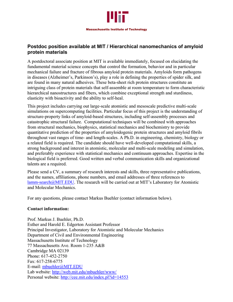 Postdoc position available at MIT / Hierarchical nanomechanics of