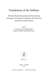 Translations of the Sublime The Early Modern Reception and Dissemination of Longinus'