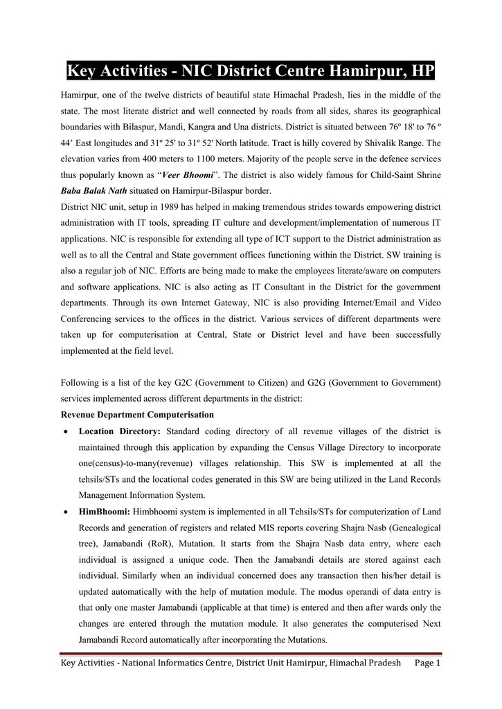 Key Activities - NIC District Centre Hamirpur, HP