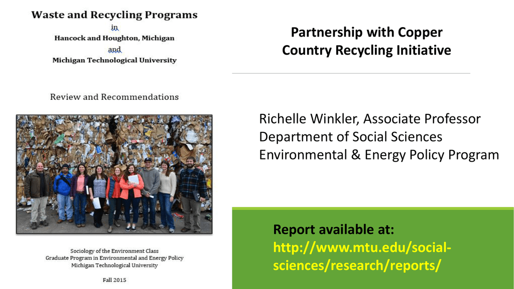 Partnership with Copper Country Recycling Initiative