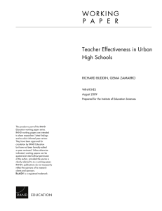 W O R K I N G Teacher Effectiveness in Urban