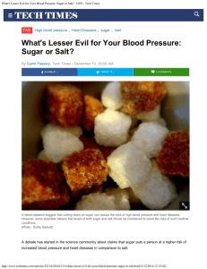 What's Lesser Evil for Your Blood Pressure: Sugar or Salt? TAG