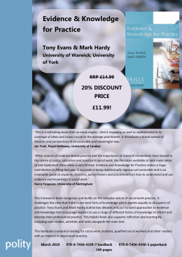 Evidence & Knowledge for Practice Tony Evans & Mark Hardy