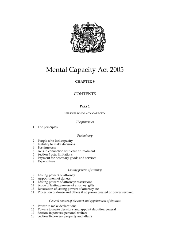 Mental Capacity Act 2005 CONTENTS CHAPTER 9