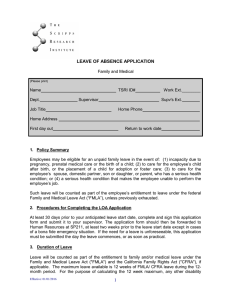 LEAVE OF ABSENCE APPLICATION